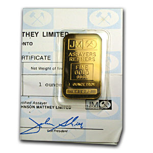 1 oz Gold Bar - Johnson Matthey (Plain Back, w/Assay Card)